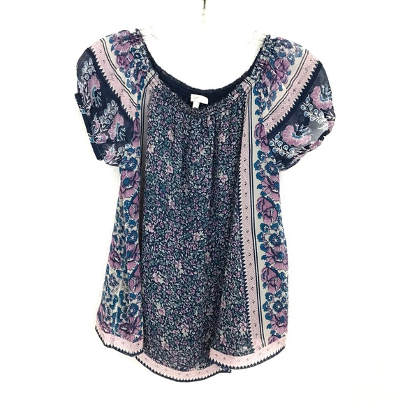 7d58147a625263 Joie Tops - Joie silk floral Peasant top blouse short sleeve